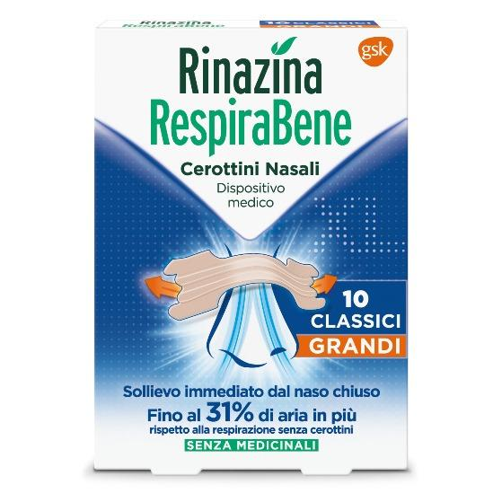 RINAZINA RESPIRABENE CEROTTI NASALI CLASSICI GRANDI CARTON 10 PEZZI